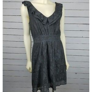 Anthropologie Maeve gray lace dress